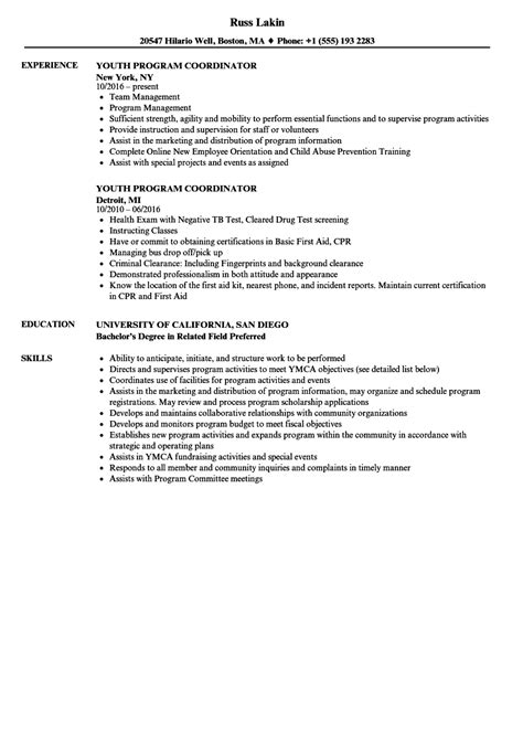 Program Coordinator Resume by Youth Program Coordinator Resume Sles Velvet