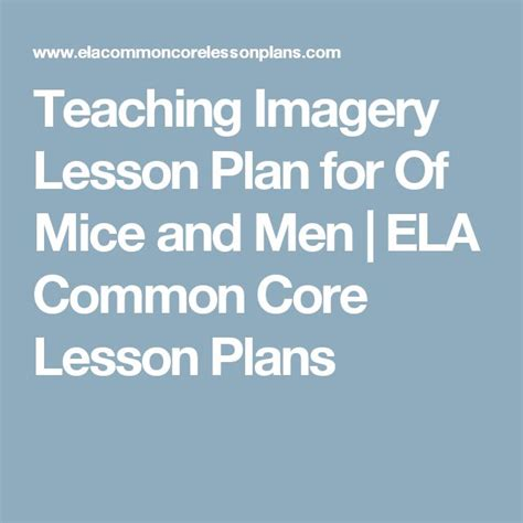 Romeo And Juliet Lesson Plan Family Shields Ela Common Teaching Imagery Lesson Plan For Of Mice And Ela