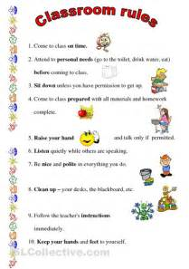 Printable Classroom Rules Worksheet