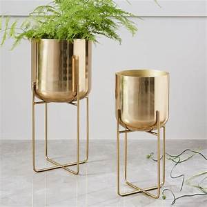 Spun Metal Standing Planter - Brass west elm
