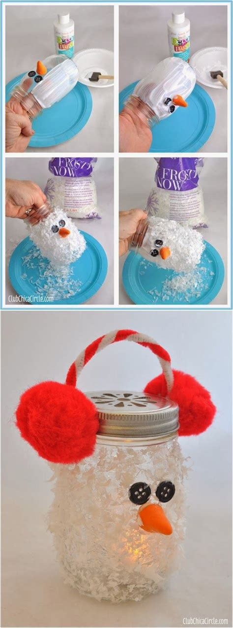 cute christmas crafts pinterest snowman jar luminary winter diy craft idea for makes gifts for