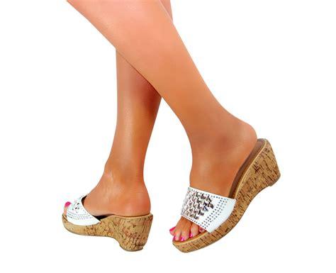 Ladies Platform Wedge Block High Heels Peep Toe Sandals