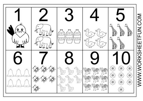 picture number chart 1 10 printable worksheets 197 | d8c24ca838203a12c1a464a408bf245c