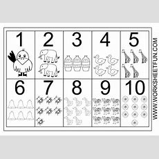 Picture Number Chart 110  Printable Worksheets  Numbers Preschool, Free Printable Numbers