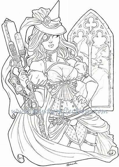 Wicked Witch Steampunk Coloring Pages Adult Visit