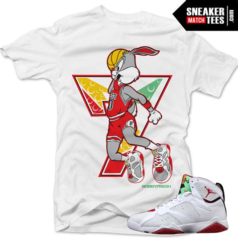Jordan 7 Hare shirts to match u0026quot;Air Rabbitu0026quot; White Sneaker Tees shirt