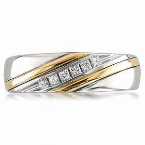14k two tone yellow gold princess cut diamond men39s With men s two colour wedding rings