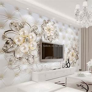 Custom 3d Wallpaper For Walls Crystal Pearl Flowers ...