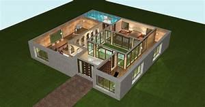 plan 3d maison plain pied With plan d appartement 3d 12 plan maison 110m2 plain pied