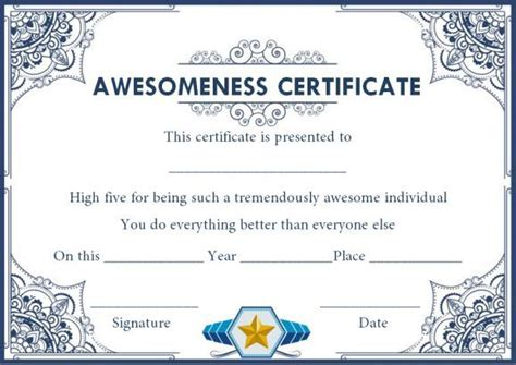 certificate  awesomeness template document certificate