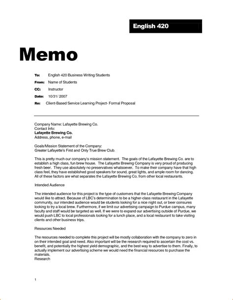 memo template how is a business memo format written