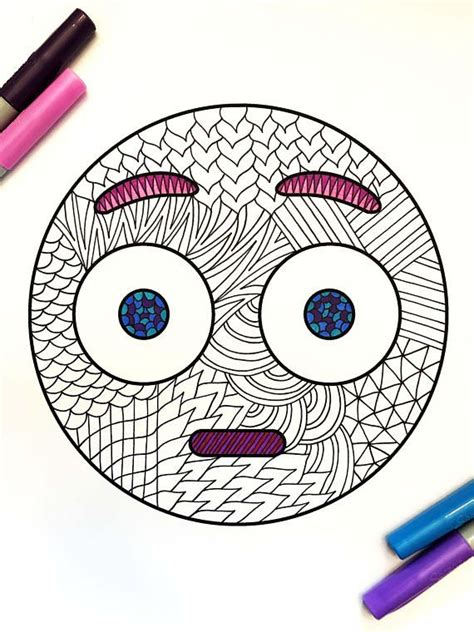 surprised emoji  zentangle coloring page emoji drawings coloring pages emoji