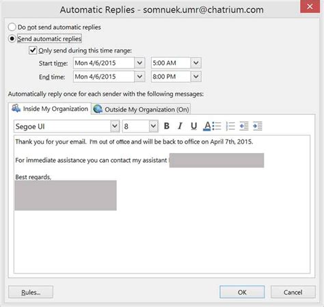 Office 365 Mail Auto Reply by ว ธ ต งค า Out Of Office บน Office 365 Technointrend