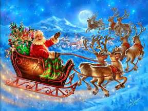 santa claus coming to town riding his reindeer sleigh flying in sky images pixhome