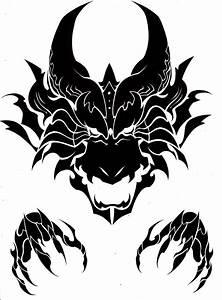 Tribal Dragon Head Drawing - ClipartXtras