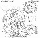 Pitchfork Hay Farmer Clipart Lineart Male Using Bannykh Alex sketch template
