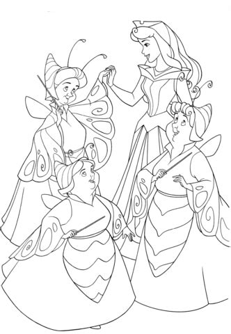 The Good Fairies are Dressed as Butterflies coloring page