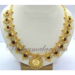 gold plated palakka mala traditional kerala necklace and earrings ornament