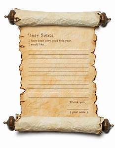 Letter to santa templates dear santa list 1 coloring for Santa scroll letter