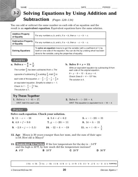 glencoe mcgraw hill algebra 1 worksheet answers worksheets