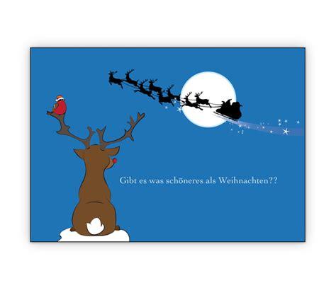 schoene weihnachtskarte mit rentier und weihnachtsmann