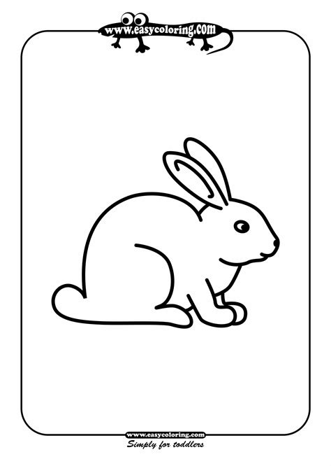rabbit simple coloring animals easy coloring animals