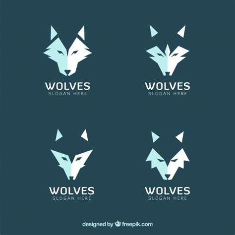 set de logos modernos de lobos descargar vectores gratis