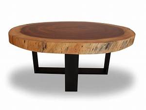 round solid wood table blackened metal base round raw With round wood slab coffee table