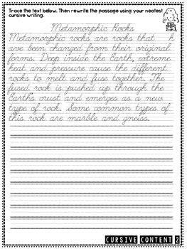 cursive content science cursive practice passages
