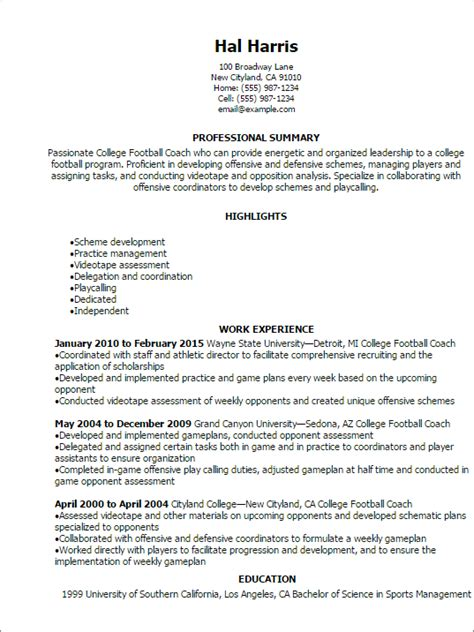 Football Coach Resume Template professional college football coach resume templates to showcase your talent myperfectresume