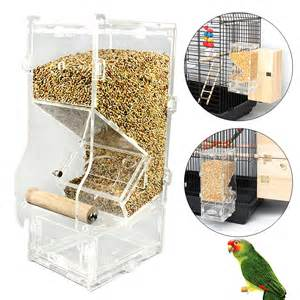 acrylic seed no mess pet bird feeder parrot canary