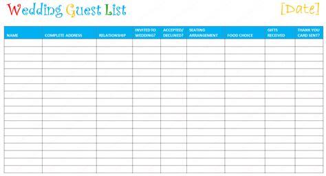 Wedding Guest List Template Top 5 Resources To Get Free Wedding Guest List Templates