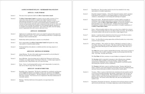 Bylaws For A Nonprofit Organization Template Images