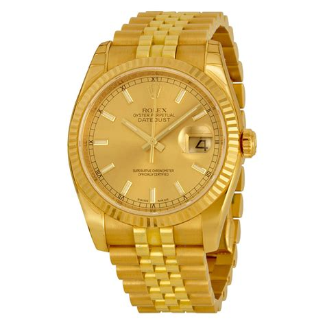 Rolex Oyster Perpetual Datejust 36 Champagne Dial 18K ...