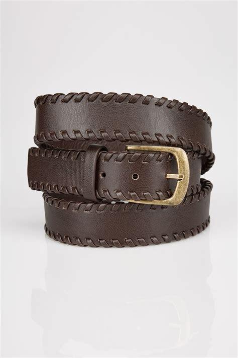 brown whipstitch pin buckle belt