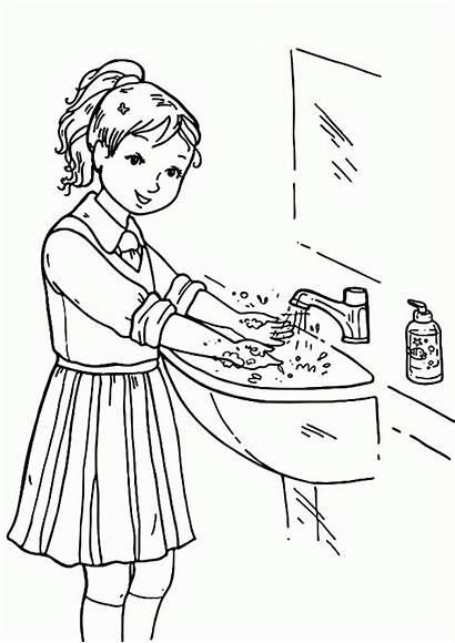 Coloring Washing Wash Clean Clothes Handwashing Keep