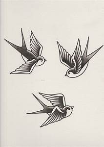 How to Draw a Group of Swallows in a Retro Tattoo Style