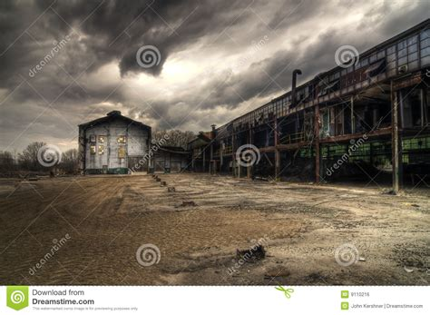abandoned industrial buildings royalty  stock image