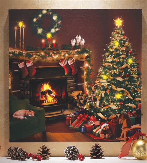 flickering led lighted christmas eve scene  cat canvas