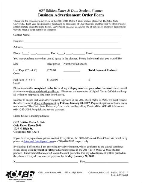 advertising order form templates  word  excel