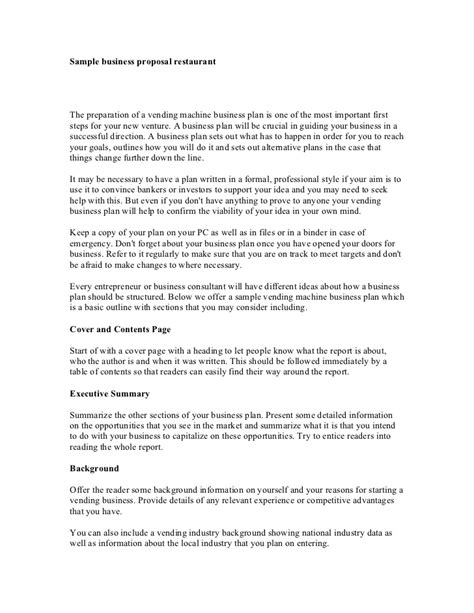 sample business proposal restaurant