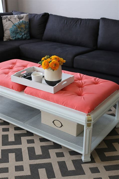 how to upholster an ottoman diy how to upholster a coffee table