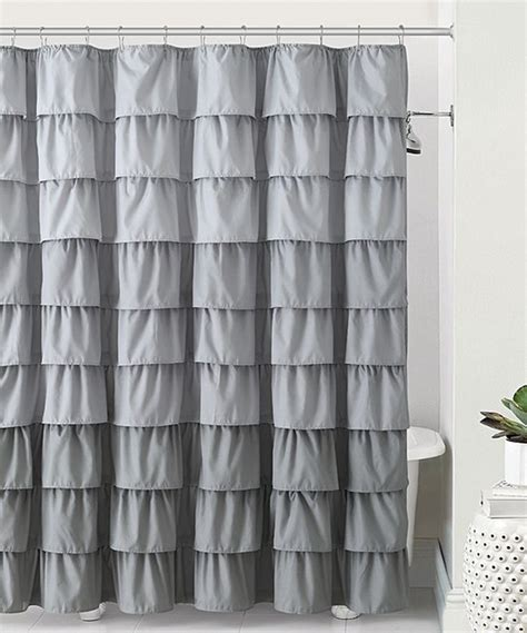 grey ruffle blackout curtains classics gray sally ruffle shower curtain gray