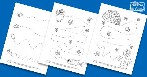 winter tracing worksheets  kids itsy bitsy fun