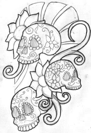 mexican sugar skull tattoo outline drawing sketches