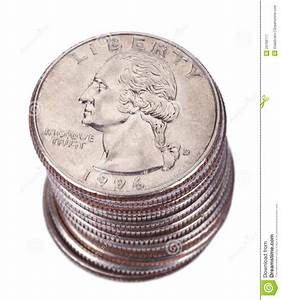 Isolated Quarter Dollar Coin Stack Royalty Free Stock ...
