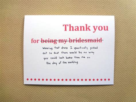 Funny thank you card for bridesmaid, wedding thank you