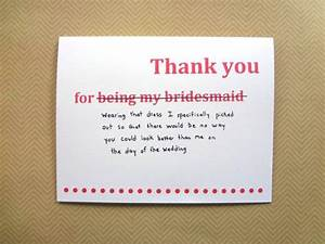 Funny thank you card for bridesmaid, wedding thank you ...