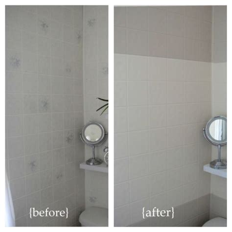 Painting Bathroom Tiles Before And After by Before And After Horizontal Stripes Paint Plastic Wall