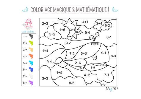 chambre à air coloriage magique et mathématique la baleine momes